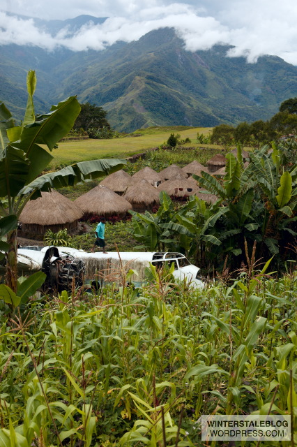 The Papuan Highlands - beautiful, but difficult (and sometimes dangerous) to get to. This Trigana Air plane skidded off the 'runway' in Mamit village.