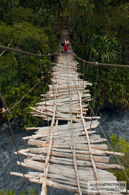 Sometimes you get lucky and you have bridges - this was the best one of the trip - it even had some metal cable!