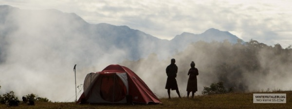 We tried to camp in villages wherever possible, not much flat ground anywhere else. The clouds would 'boil' up out of the valleys in the early mornings.