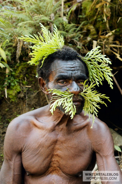 Soot mixed with fat (e.g. pig fat) makes an effective black face paint for decoration. As regards the vegetation, I couldn't ascertain whether there was a specific ritual purpose or just plain decoration.