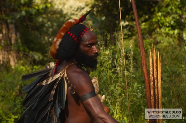 This man is a traditional warrior / hunter from the Vano tribe. 'Warriors' are still a very real concept here, we passed through one area with inter-village warfare where the men from different groups were hunting each other with bow-and-arrow.
