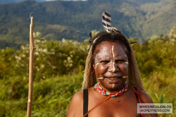 Female facial decoration did not seem so common with the Vano, however we did see a couple of examples at the pig feast.