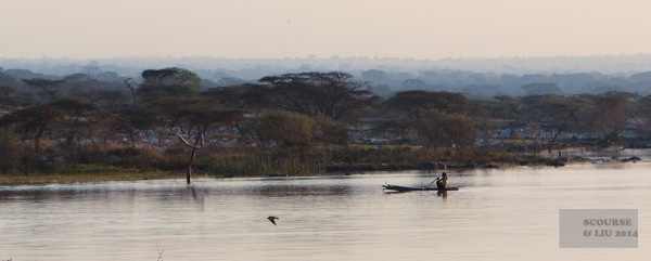 A fishing canoe near the shore of Lake Langano near Bishangari.